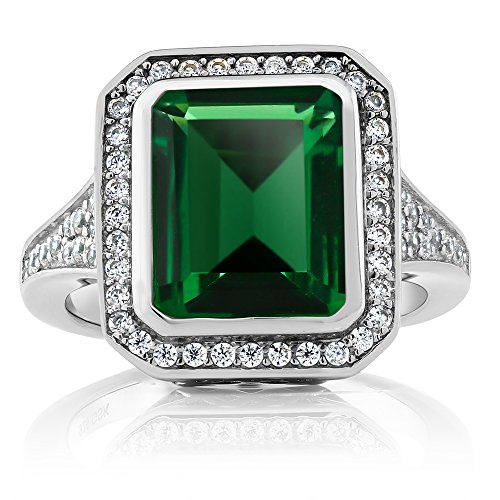 Emerald Bezel Ring (5.00 Ct Vintage Women's 925 Sterling Silver Octagon Cut Nano Emerald Ring,)