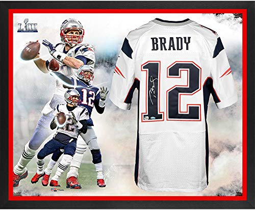 (Tom Brady New England Patriots Framed Autographed Super Bowl LIII Champions Nike White Elite Jersey Super Bowl LIII Champions Collage - TRISTAR - Fanatics Authentic Certified)