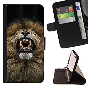 - Queen Pattern FOR Samsung Galaxy S4 Mini i9190 /La identificaci????n del cr????dito ranuras para tarjetas tir????n de la caja Cartera de cuero cubie - lion roar sneeze funny tee