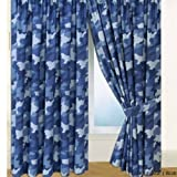 BLUE ARMY CAMOUFLAGE PAIR OF CURTAINS 66' X 72' WITH TIE-BACKS