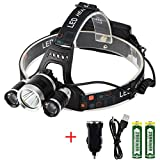 Autai LED Head Lamp Super Bright Rechargeable Headlight Battery Powered LED Head Torch Waterproof for Hiking Climbing Camping Hunting Biking Running Fishing, Batteries Included