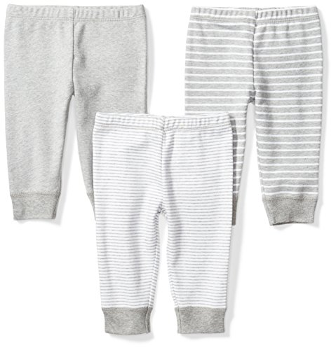 Moon and Back Baby Set of 3 Organic Pants, Grey Heather, Newborn