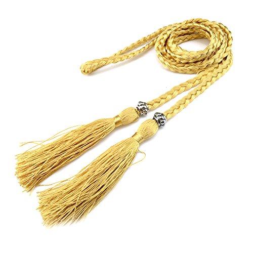 Women's Belts Solid Color Tassel Braided Bowknot Thin Waist Belt Gold