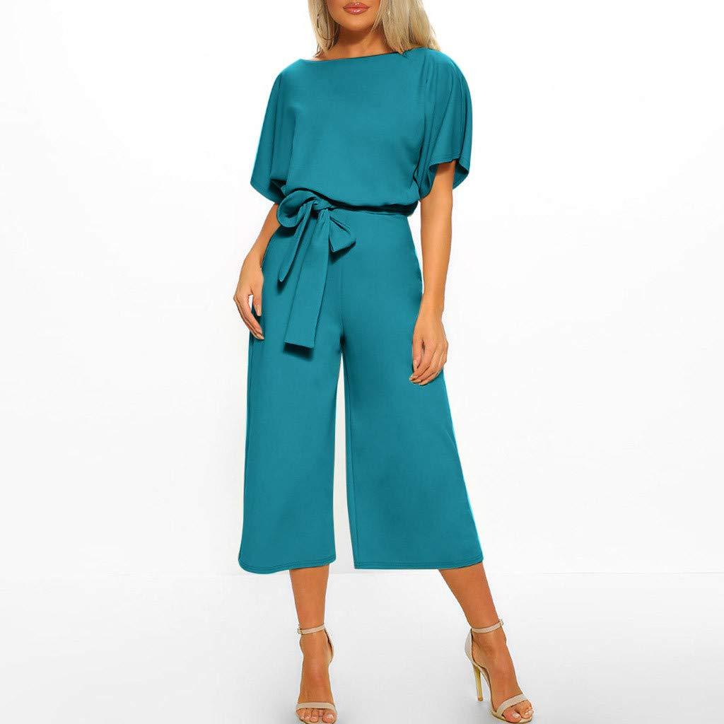 Damen Jumpsuit Elegant Sommer Festlich Kleid Stretch Kurzarm Overall Clubwear Straight Leg Mit G/üRtel