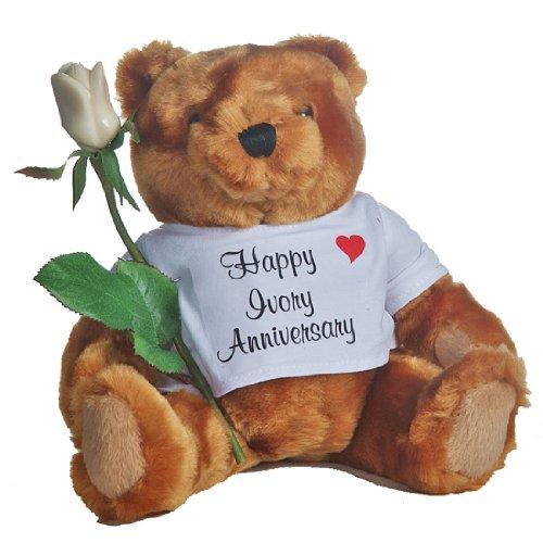 Happy 14th Wedding Anniversary Teddy Bear with (artficial) Ivory Rose (Ivory Teddy Bear)
