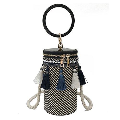 Style Bucket Cylindrical Straw Bag Handmade Bag Barrel-shaped Shoulder Bag With Metal Inside Handle Crossbody Bag Beige Black