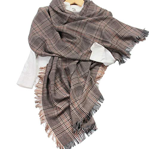 AXIANQI Winter Warm Shawl Collar Four-Sided Tassel Plaid Houndstooth Wool Scarf Female Men's Cashmere Soft and Comfortable 90192cm (Color : Brown, Size : 90192cm) ()