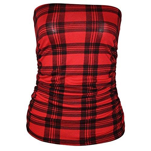 Janisramone - Camiseta sin mangas - Sin mangas - para mujer Tartán Rojo Más Talla