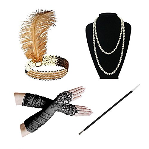 Gatsby Outfit (1920s Accessories Headband Necklace Gloves Cigarette Holder Flapper Costume Accessories Set for)