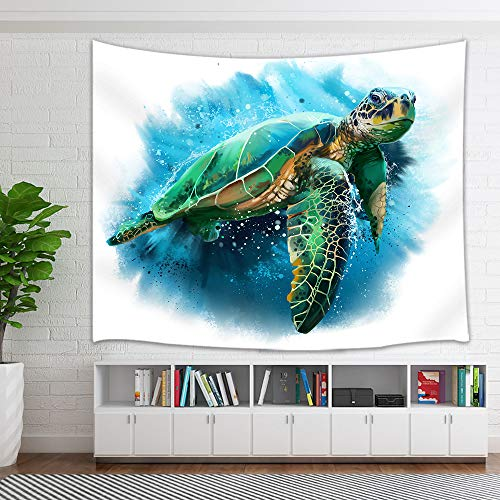 NYMB Watercolor Painting Sea Turtle Tapestry, Nautical Ocean Animals in Underwater World Tapestry Wall Hanging Wall Art for Bedroom Living Room Collage Dorm Home Decor Bedspread, 71