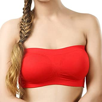 321fa2d77d126 Beauty Plus Tube Bra Women s RED Color Wirefree