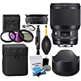 Sigma 85mm f/1.4 DG HSM Art Lens for Canon EF + 3 Piece UV Filter 86mm + Lens Case + Lens Hood + Lens Band + 5 Piece Cleaning Kit + Dust Blower + Cleaning Pen - Ultimate Lens Accessory Bundle