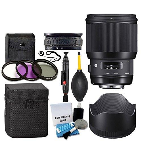 Sigma 85mm f/1.4 DG HSM Art Lens for Canon EF + 3 Piece UV Filter 86mm + Lens Case + Lens Hood + Lens Band + 5 Piece Cleaning Kit + Dust Blower + Cleaning Pen - Ultimate Lens Accessory Bundle