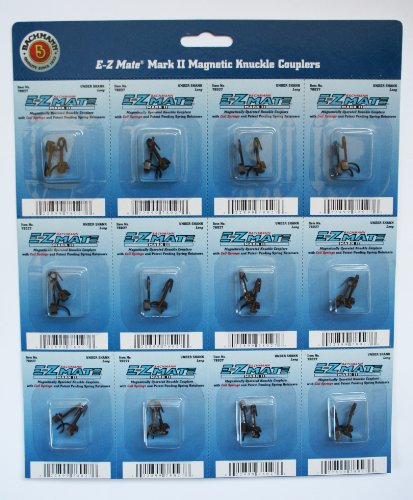 Bachmann Trains E - Z Mate Mark II Magnetic Knuckle Couplers with Metal Coil Spring - Under Shank - Short (12 Coupler pairs per card) - HO - Scale Ho Knuckle Spring