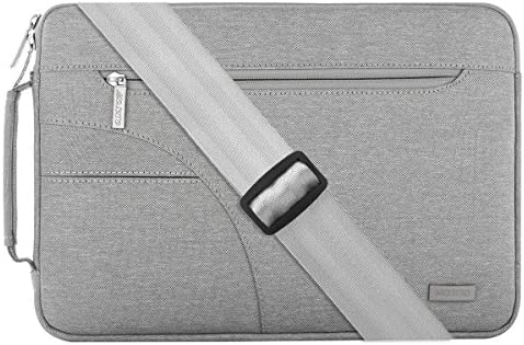 Polyester Ultraportable Protective Briefcase Carrying Handbag Case Cover with Side Handle MOSISO Laptop Shoulder Bag Compatible with 15-15.6 Inch MacBook Pro Gray Ultrabook Netbook Tablet