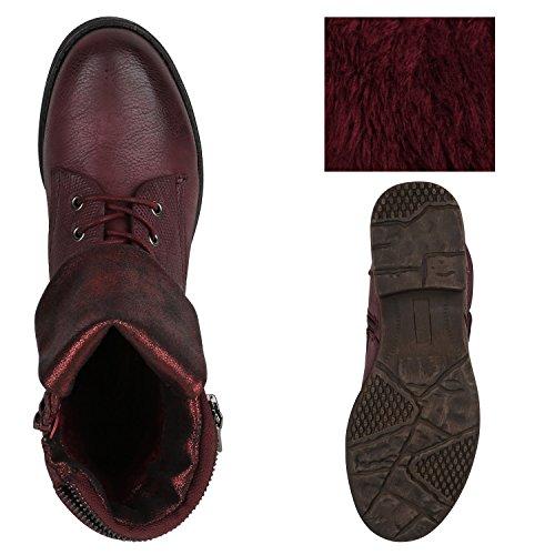 Stiefelparadies Damen Stiefeletten Leicht Gefüttert Schnürstiefeletten Schuhe Flandell Dunkelrot