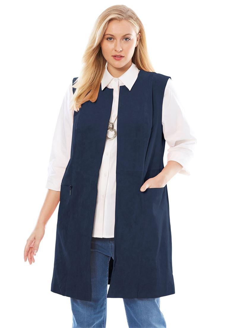 Jessica London Women's Plus Size Suede Vest Navy,26 W