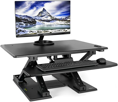 VIVO Black Electric Height Adjustable Two Tier Standing Tabletop Desk - 32