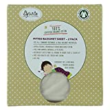 Organic Bassinet sheet 2 Pack 100% GOTS Certified Organic Dye Free Jersey Cotton Knit Natural Color for Baby Girl or Baby Boy by Ely's & Co.