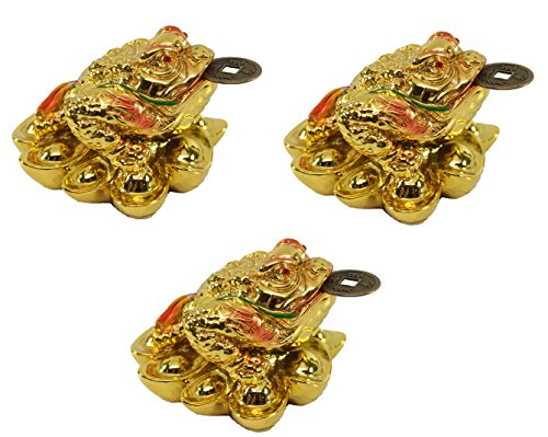- Set of 3 Gold Fortune Coin Money Toad/ Frog /Chan Chu - Feng Shui Chinese Charm of Prosperity Decoration Gift US Seller