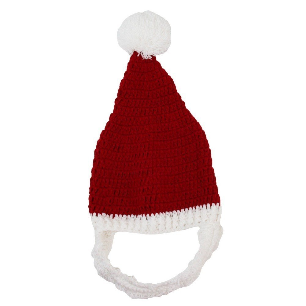 Dress Up Dreams Boutique Unisex Little Kids Red White Santa Claus Beard Pom-Pom Cotton Crochet Hat 4-6 Y