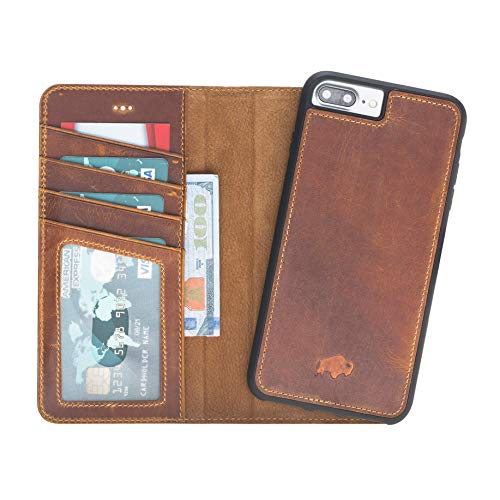 Burkley Case Detachable Leather Wallet Case for Apple iPhone 8 Plus / 7 Plus with Magnetic Closure and Snap-on | Book Style Cover with Card Holders and Kickstand in a Gift Box | Golden Brown