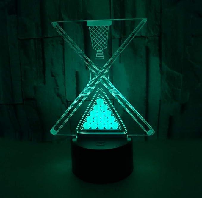 Ilusión 3D luz nocturna decorativa, bola de billar luz 3D toque ...