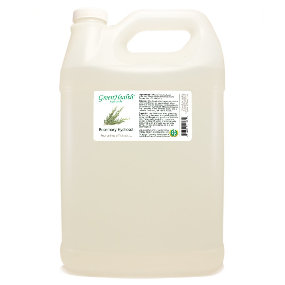 Rosemary Hydrosol - 1 Gallon Plastic Jug w/Cap - 100% pure, distilled from essential oil by GreenHealth