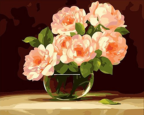 [Wooden Framed] Diy Oil Painting Paint by Number Kit for Adults Kids - Peony flowers in full bloom 16x20 inch (By Paint Number Peonies)