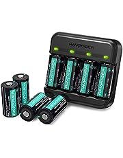 RAVPower Batteria Ricaricabile RCR123A da 8 Pezzi 700mAh Caricabatterie Arlo per Videocamere di Sicurezza Wireless Arlo VMC3030 VMK3200 VMS3330 3430 3530