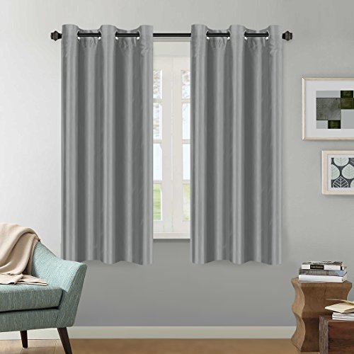 Grey Curtain All Season Home Decoration Curtain Light Reducing Faux Silk Drape Nickel Grommet Wi ...
