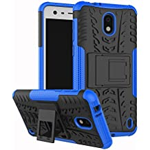 Nokia 2 Case, Linkertech [Shockproof] Tough Rugged Dual Layer Protector Hybrid Case Cover with Kickstand for Nokia 2 (Blue)