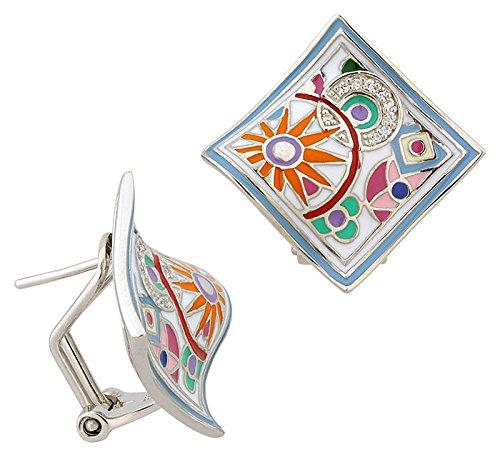 Una Storia - BO12156 : Boucles d'oreille Femme Argent et Email