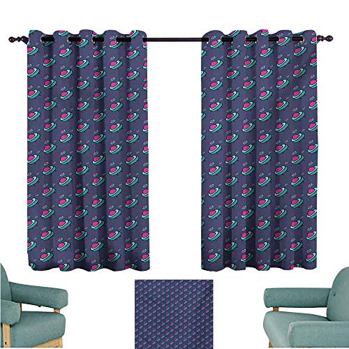 DONEECKL Customized Curtains Kids Pattern with Alien Flying Devices Cute Kids Doodle Sketch Astronomy Cartoon Tie Up Window Drapes Living Room W63 xL72 Pink Aqua Cadet Blue