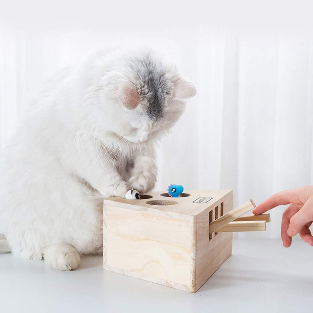 Pet Cat Hunt Toy Interactive 3/5-holed Wooden Whack A Mole Mouse Game Puzzle Toy,Mouse Seat Scratch,cat wack a mole by Antetoys