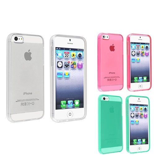 eForCity 3 Packs TPU Rubber Case Combo compatible with Apple iPhone 5, Clear / Clear Hot Pink / Clear Neon Green