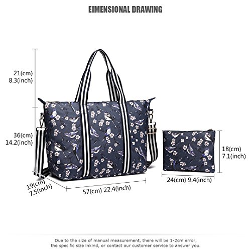 Handbag Bird Light 6641 Matte Navy Overnight Bag Large Pieces 2 Lulu Shoulder 16J Set Navy Foldaway 16J Weight Flower Oilcloth 6641 Women Miss FXOaqgx0