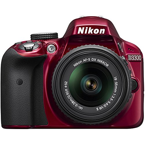 Nikon D3300 1533 24.2 MP CMOS Digital SLR with Auto Focus-S DX NIKKOR 18-55mm f/3.5-5.6G VR II Zoom Lens, Certified Refurbished, Red