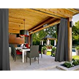 "Outdoor Curtain Grey 84"" W x 120"" L Pinch Pleated For Track or Traverse Rod with Ring,at Front Porch, Pergola, Cabana, Covered Patio, Gazebo, Dock, and Beach Home."