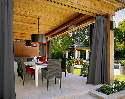 Outdoor Curtain Grey 200'' W x 102'' L Pinch Pleated For Track or Traverse Rod with Ring,at Front Porch, Pergola, Cabana, Covered Patio, Gazebo, Dock, and Beach Home. by ChadMade