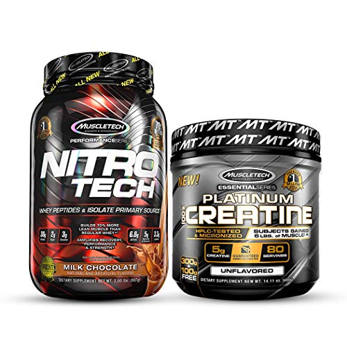 Muscletech Performance Series Nitrotech Whey Protein Peptides & Isolate – 2lbs (907g) (Milk Chocolate) and Muscletech Essential Series Platinum Creatine (5g Creatine, 80 Servings) – 400g