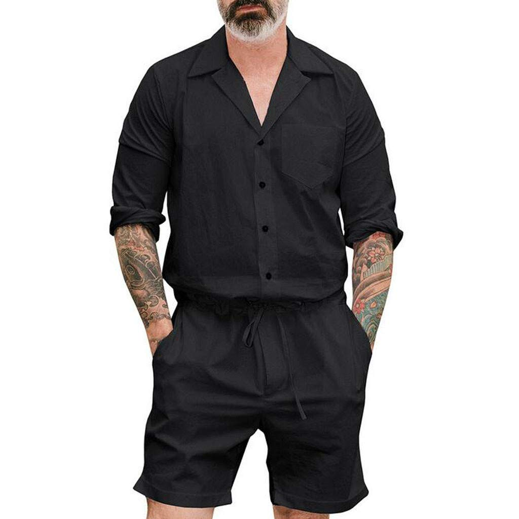 Mens Large Size Jumpsuit AmyDong Solid Summer Fashion Pure-Colour Button Onesies