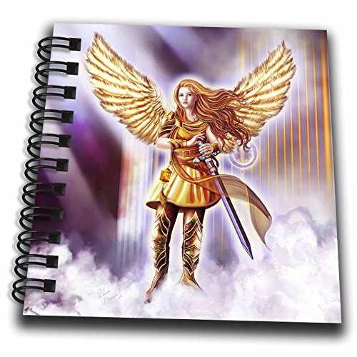 3dRose Dream Essence Designs-Angels - Beautiful Guardian Angel in Armor with clouds and gates of heaven - Mini Notepad 4 x 4 inch (Heaven Clouds Design)