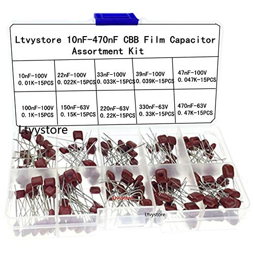 Polyester Capacitor Kit, 100V and 63V Metallized Mylar Polyester Film Capacitors Assortment Box Kit Set - 10nF 22nF 33nF 39nF 47nF 100nF 150nF 220nF 330nF 470nF, Pack of 150, by Ltvystore ()
