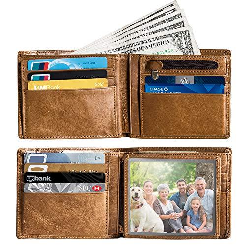 Mens RFID Blocking Minimalist Bifold Genuine Leather Wallet card holder with a back card slot, ID window, 16 card slots (tan)