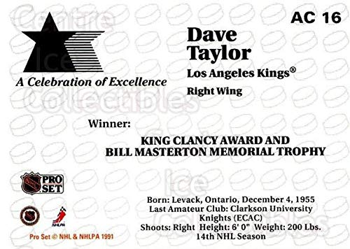 (CI) Dave Taylor Hockey Card 1991-92 Pro Set NHL Awards Special AC16 Dave Taylor