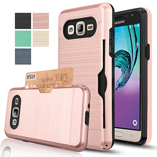 Galaxy J3 Case,Galaxy Sky / J3 V/Amp Prime/Express Prime/Sol Wallet Case with HD Screen Protector,AnoKe[Card Slots Holder] Plastic TPU Hybrid Case for Samsung Galaxy J3 KC2 Rose Gold
