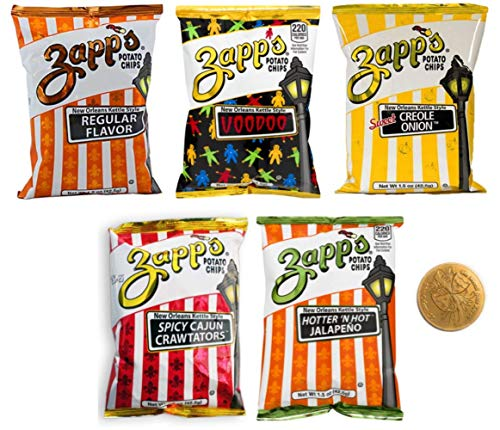 Zapps Potato Chips Sampler - Voodoo, Spicy Cajun Crawtator, Sweet Creole Onion, Hotter N Hot Jalapeno, Regular- 10 Total, 2 each, 1.5 Ounce Bags With New Orleans Doubloon