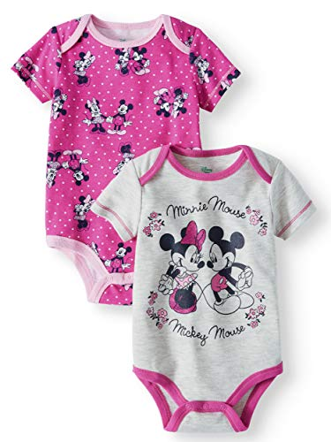 Disney Baby Girls 2 Pack Bodysuits -Minnie & Mickey Mouse (6-9 Months) Gray Pink ()