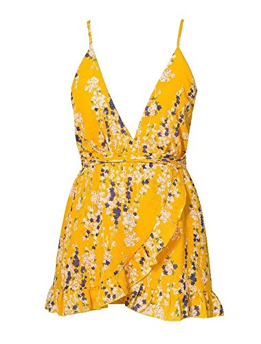 YiKeZhiXiu Womens Summer Floral Print Deep V Neck Backless Spaghetti Strap Mini Beach Dress with Lining